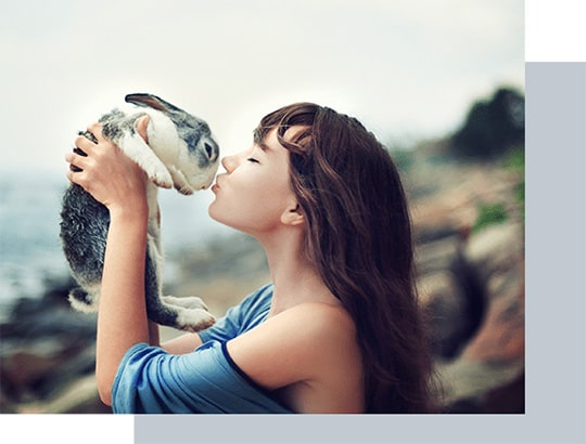 Woman with blue shirt kissing a bunny